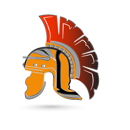 antiquarian: Antiques Roman or Greek helmet for head protection soldiers with a crest of feathers or horsehair with slits for the eyes and mouth, vector illustration