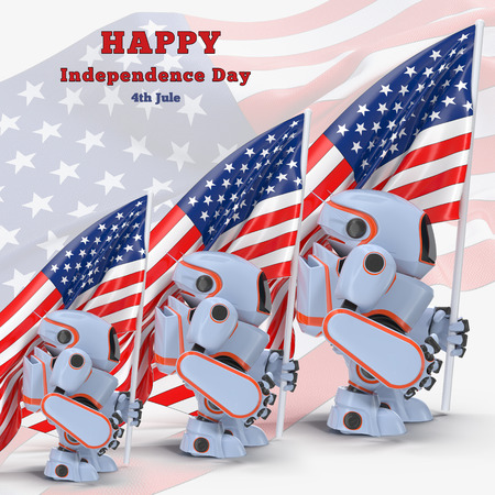 exhilaration: Robot with USA flag 3d illustration holiday