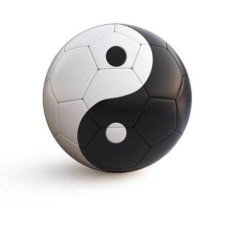 sports symbols metaphors: 3d illustration of yin yang soccer ball on isolated background