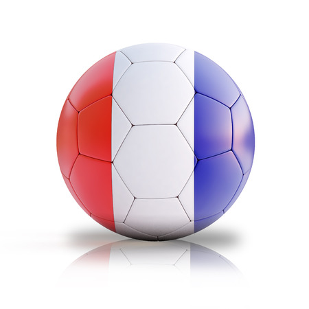 handball: 3d illustration of the French flag on a soccer ball on isolated background Stock Photo