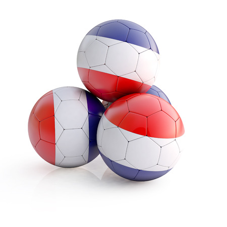 balonmano: 3d illustration of the French flag on a soccer ball on isolated background Foto de archivo
