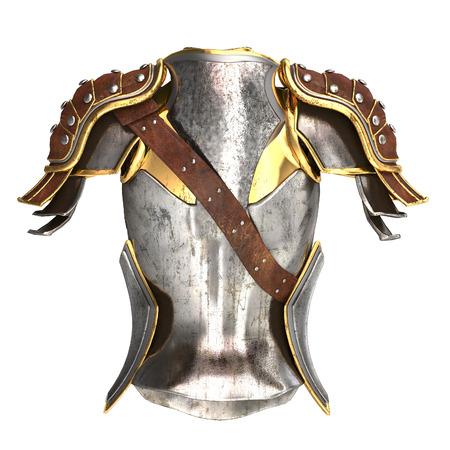 woman armor 3d illustration isolated on background Stock Photo