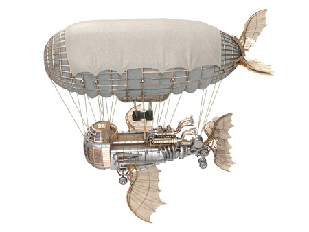 airscrew: 3d illustration of a fantasy airship in steampunk style on isolated background Stock Photo