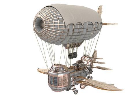 3D-Darstellung eines Fantasy-Luftschiff in Steampunk-Stil auf weißem Hintergrund Standard-Bild