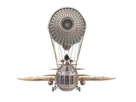 3d illustration d'un dirigeable fantastique dans le style steampunk sur fond isolé Banque d'images - 66773480