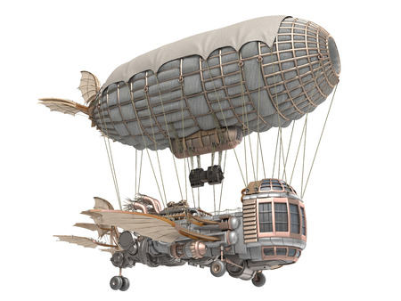 3d illustration of a fantasy airship in steampunk style on isolated background Reklamní fotografie