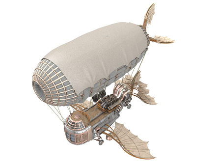 blimp: 3d illustration of a fantasy airship in steampunk style on isolated background Stock Photo