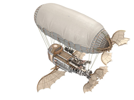 3d illustration of a fantasy airship in steampunk style on isolated background 免版税图像