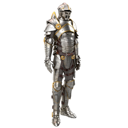 full metal jacket: 3d illustration of a full suit of armor isolated on background