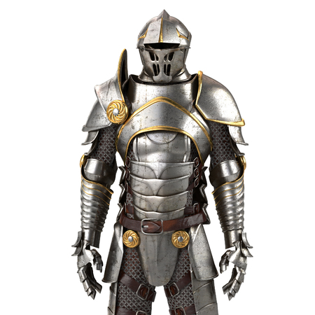 3d illustration of a full suit of armor isolated on background