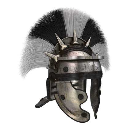 roman empire: Roman legionary helmet on an isolated white background.