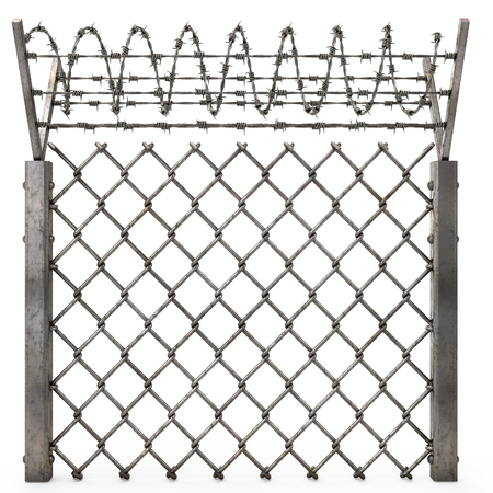 Stockade: Iron Fence With Barbed Wire On An Isolated White Background. 3d  Illustration
