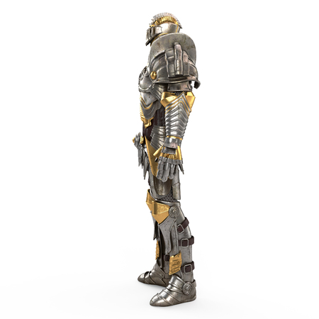 antiquities: Full medieval iron suit, isolated on a white background. 3d illustration