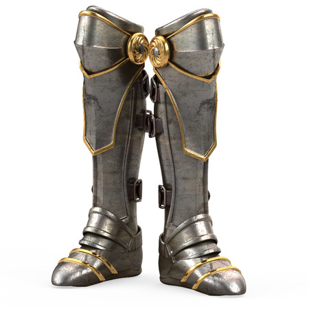 Iron fantasy high boots knight armor isolated on white background. 3d illustration