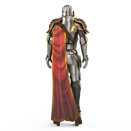 medieval armor of fantasy full of women with a closed helmet and red cape 3d illustration