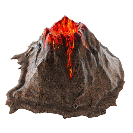 Volcano lava without smoke on the isolatedbackground. 3d illustration