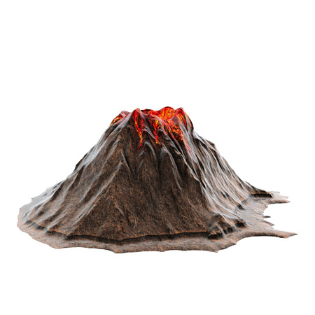 Volcano lava without smoke on the isolated white background. 3d illustration