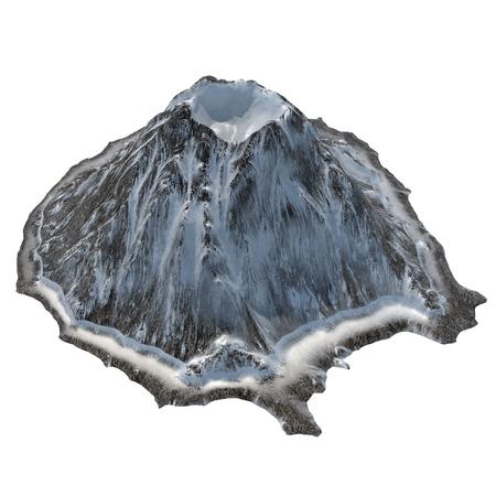 Vulcão nevado em um fundo branco isolado .3d ilustração, renderização Foto de archivo - 73672694