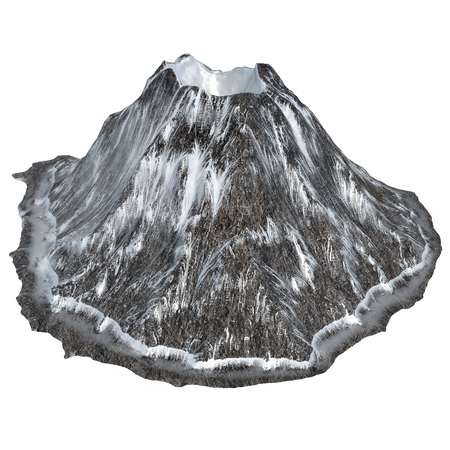 snowy volcano on an isolated white background .3d illustration, rendering