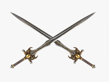 A fantasy long sword, with a skull and gold on an isolated white background. 3d illustration