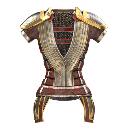 masculinity: Female armor on the body with chain mails on an isolated white background. 3d illustration Stock Photo