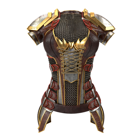 knightly: Female armor on the body with chain mails on an isolated white background. 3d illustration Stock Photo