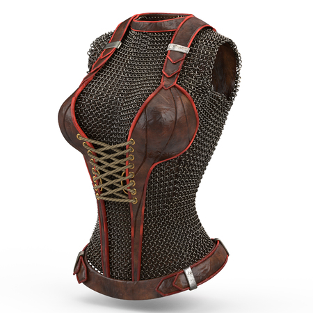 Female chain armor made of metal on isolated white background. 3d illustration