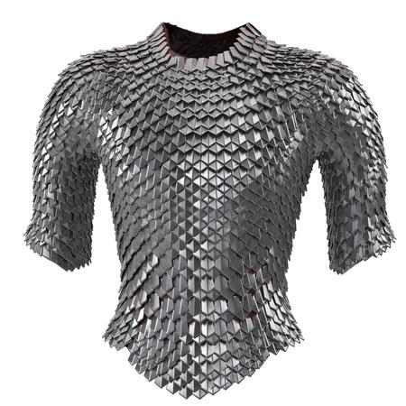 Iron chain armor on isolated white background, 3d illustration Stockfoto