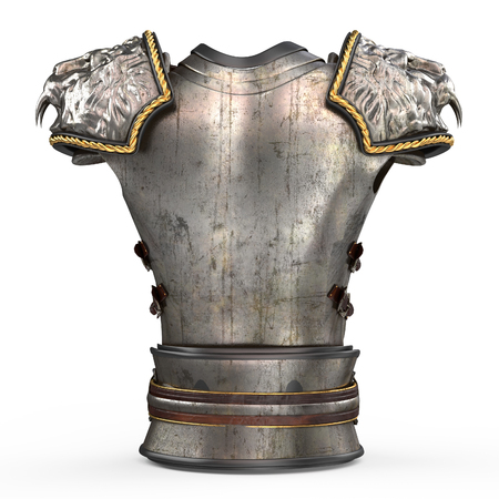 Medieval armor on the body in the style of a lion with large shoulder pads on an isolated white background