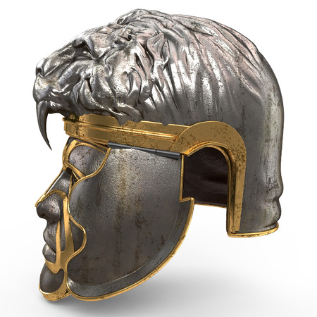 antiquity: Medieval fantasy helmet closed with iron mask, and lion on top, on white isolated background