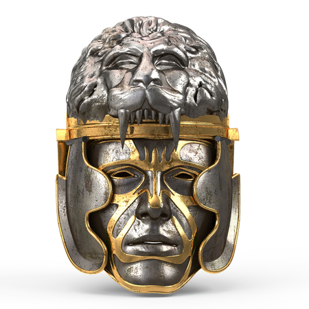 Medieval fantasy helmet closed with iron mask, and lion on top, on white isolated background