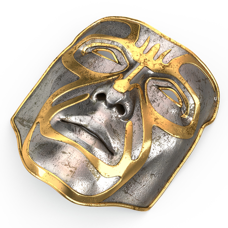 Iron mask on face, with gold inserts on isolated white background. 3d illustration