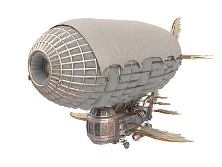 archways: 3d illustration of a fantasy airship in steampunk style on isolated white background