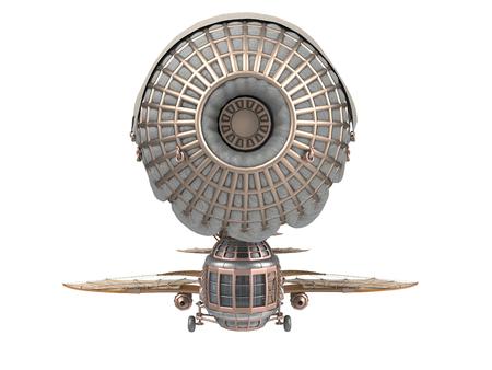 分離の白い背景の上のスチーム パンクなスタイルのファンタジー飛行船の 3 d イラストレーション
