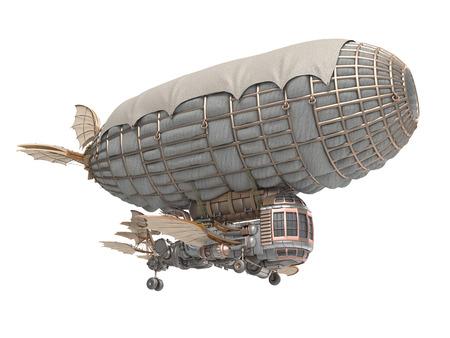 Illustration 3D d'un dirigeable de fantaisie dans le style steampunk Banque d'images - 89320676