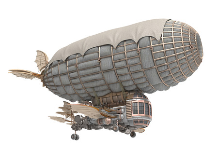 3d illustration of a fantasy airship in steampunk style