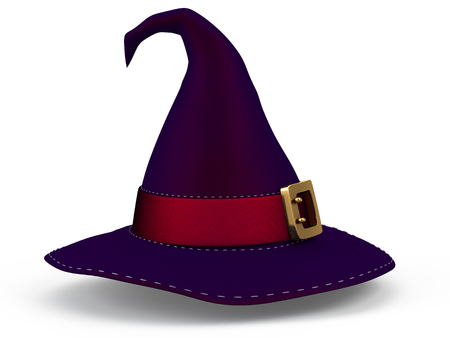 hat of a witch for halloween and cartoon style on an isolated white background. 3d illustration