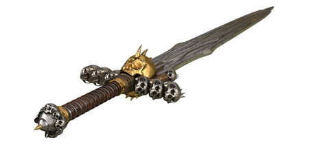 Scull medieval Sword on a white background. 3d illustration