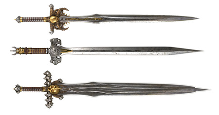 medieval metal fantasy Sword on a white background. 3d illustration