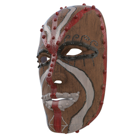 wooden mask painted with paints on an isolated white background. 3d illustration Stock Photo