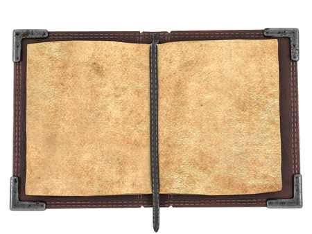 old open book on isolated white background. 3d illustration Stock Photo