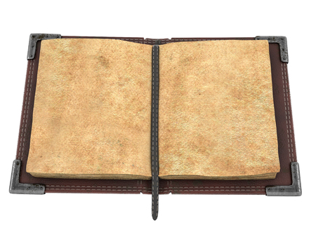 old open book on isolated white background. 3d illustration Archivio Fotografico