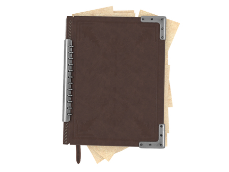 closed book in leather cover on isolated white background. 3d illustration Фото со стока