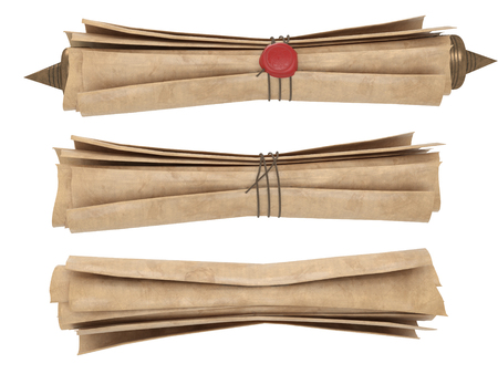 rolled old paper scroll isolated on a white background. 3d illustration