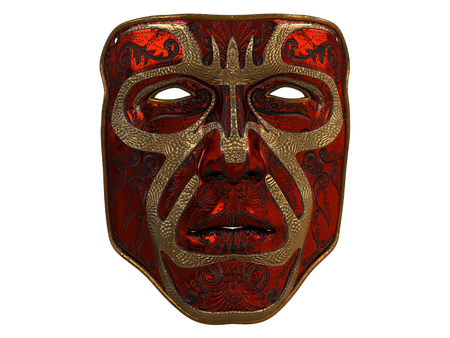 Red iron mask with ornament and gold bevels on an isolated white background. 3d illustration