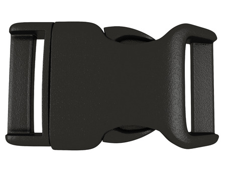 black plastic buckle on an isolated white background. 3d illustration Stock Photo