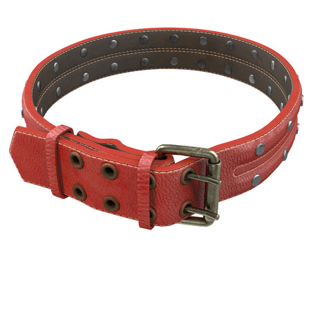 doggy leather collar on an isolated white background. 3d illustration