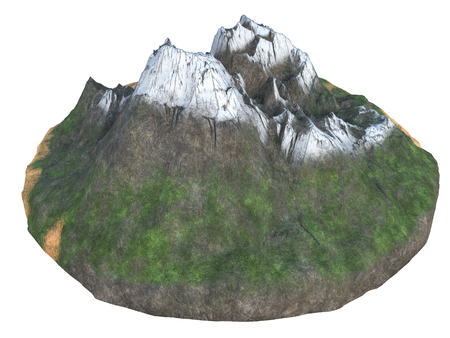 high snowy mountains on an isolated white background. 3d illustration