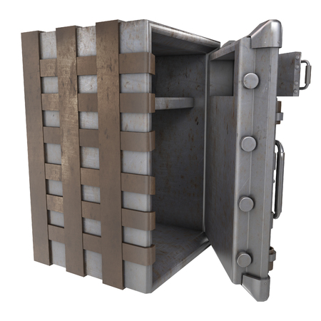 large iron open safe with two doors on an isolated white background. 3d illustration