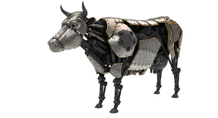 mechanical robot cow in stiunk style on an isolated white background. 3d illustration